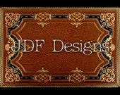 Instant Digital Download, Vintage Antique Graphic, Decorative Gold Black Ornate Book Cover, Label, Text Box, Binding, Steampunk, Scrapbook