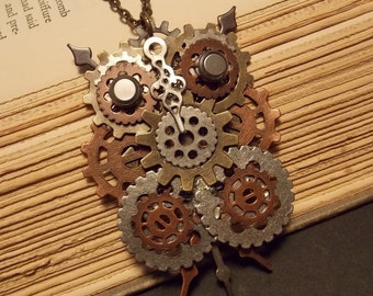 Clockwork Owl Steampunk Necklace