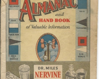 Vintage 1937 Dr. Miles New Weather Almanac