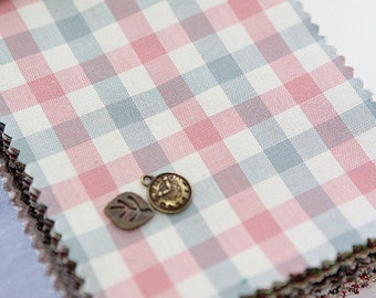 8 mm Pink Blue Plaid Cotton Fabric, Check Cotton Fabric - Fabric By the Yard 50529