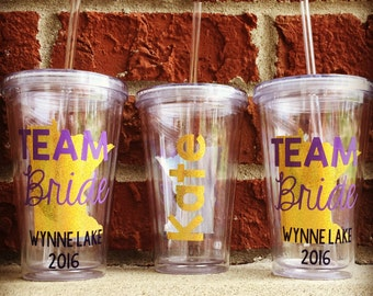 Team Bride Tumbler, State Outline, Bachelorette Party Tumbler, Girls Weekend Tumbler, Personalized Tumbler, Custom Tumbler, Personalized Cup