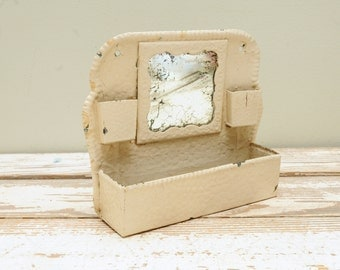 Antique Metal Comb Holder Wall Pocket