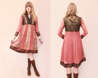 Vtg 70s Ethnic India Embroidered Paisley Folk Dress S