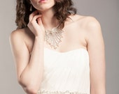 Statement Couture Embroidered Floral Organza Diamond White Bridal Sash Belt Wedding Accessory