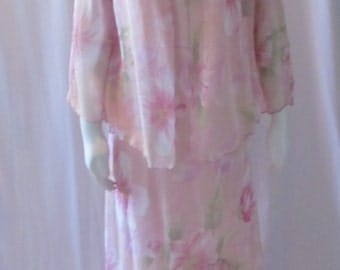 Long two piece Dress/ flowing/ floral/ sheer cover up vintage Made in USA