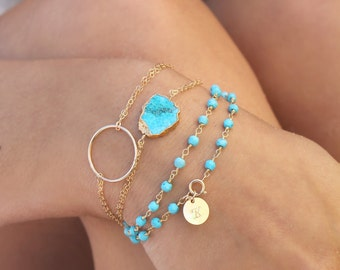 Personalized Turquoise wrap bracelet, Boho chic, 14k Gold filled initial disc, genuine gemstone beads, beaded rosary chain, custom stamped
