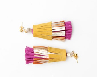 PINEAPPLE 44 / Layered natural leather statement tassel earrings - Ready to ship