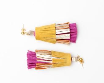 Natural leather tassel earrings. Oversized tassel earrings. Statement earrings. Tassel jewelry. Long tassels. Layered jewelry. /PINEAPPLE 44