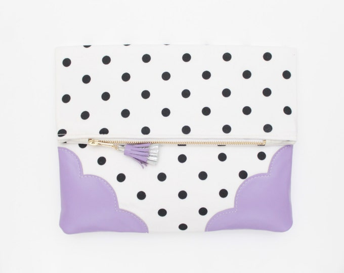 SALE! Graphic cotton clutch bag. Fold over clutch. Leather handbag. Monochrome print. Natural leather. Black and white handbag. /GRAPHIC 101