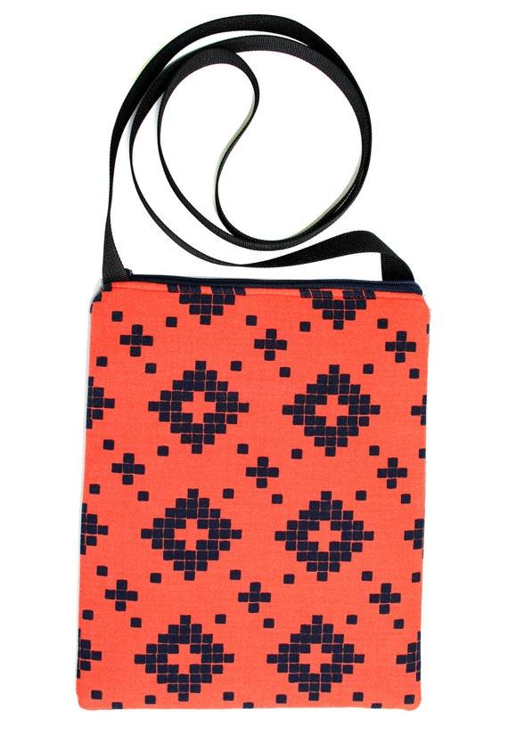 SALE! Orange, navy, Zipster, cross body bag, flat bag