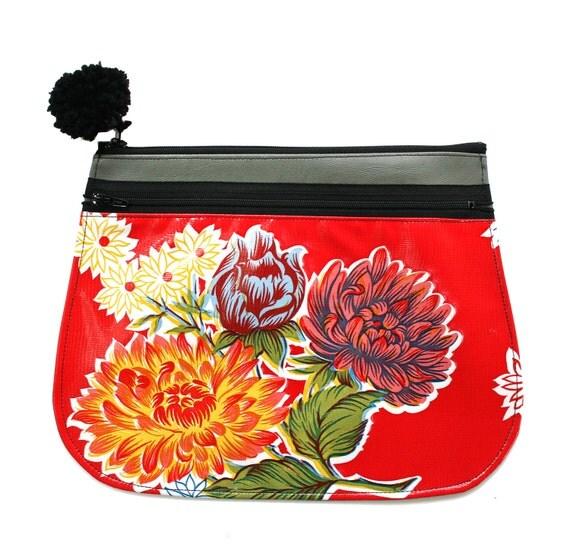 Clutch, vinyl, oil cloth, red floral, pom pom, zipper top, vegan