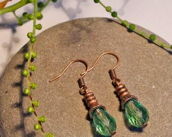 Green Crystal Copper Earrings Free Worldwide Shipping