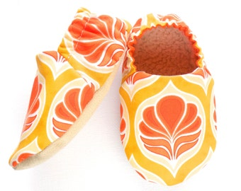 Orange and Yellow Baby Girl Shoes, Baby Booties, Baby Girl Soft Shoes, Slip On Baby Shoes, Soft Sole Shoes, Baby Girl Gift