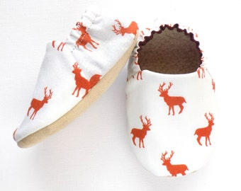 Deer Baby Boy Shoes, Baby Booties, Baby Soft Shoes, Slip On Baby Shoes, Baby Boy Gift