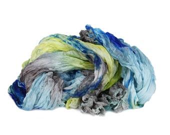 blue silk scarf - Blue Titmouse  - blue, yellow, grey-brown, bright blue silk ruffled scarf.