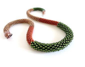 Beaded Necklace/Green Rope Necklace/Christmas Gift Idea/Bronze Necklace/Crochet Rope Necklace/Statement Necklace/Gift Guide Idea