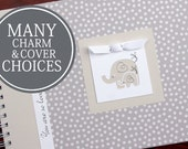 Pregnancy Journal Album | Pregnancy Gift |  Pregnancy Book | Small Cream Polka Dots with Mama & Baby Elephant Charm