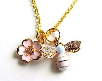 Golden Tone Chain Necklace with Enamel Rhinestones Bee Flower Charms, Pendants, Bohemian Jewelry
