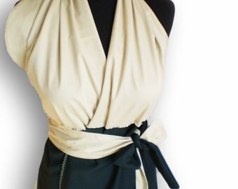 black and beige linen wrap dress with a belt and open back