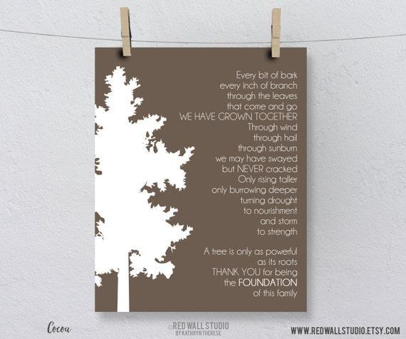 Gift for Grandparents - Family Tree Art Print Poem - Gift for Grandma, Grandpa, Grandfather, Grandmother - Wedding Anniversary Gift under 20