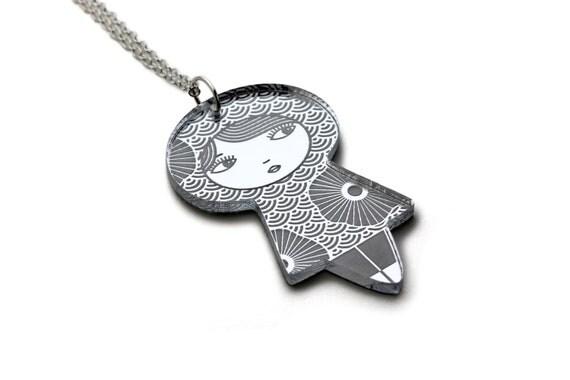 Seikaiha and flowers doll necklace - lasercut acrylic silver mirror - Japanese doll pendant - cute kokeshi jewelry - matriochka jewellery