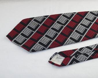 Vintage Men's Tie, Black, Red and White Stripes
