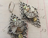 Steampunk/Vintage/Neoclassical Sytle Clock Part Silver/Yellow Swarovski Crystal Earrings. UK SELLER.