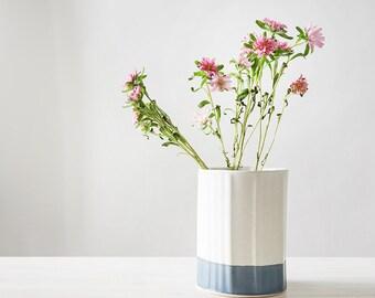 Ceramic Vase, Blue and White Flower Pot, Modern Ceramic Planter, Kitchen table Centerpiece, Minimalist Vase, Modern Kitchenware