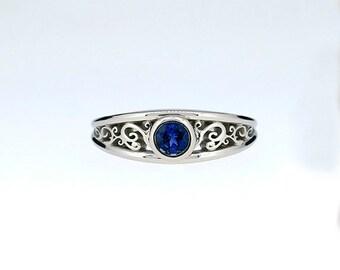 Blue sapphire filigree ring, white gold, rose gold, yellow gold, unique, bezel engagement ring, blue sapphire wedding ring, custom, blue