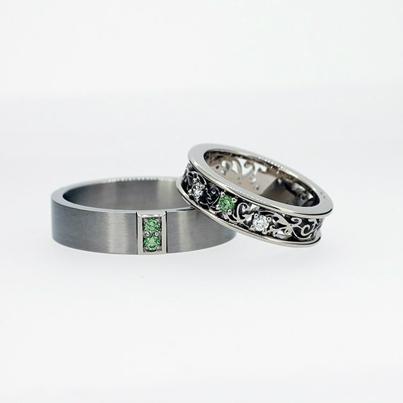 Green Diamond Wedding Ring Set Mens Palladium Wedding