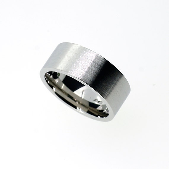 8mm Wide Palladium Ring Mens Wedding Band Unique Wedding