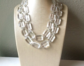 Clear Crystal Statement Necklace - Faceted Rectangular Everyday neutral jewelry - silver accents chunky bib necklace