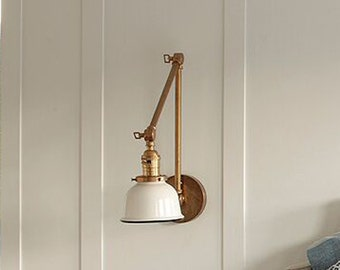 "Articulating Industrial Wall Lamp - Brass Scissor Lamp with 5"" White or Black Porcelain Enamel Shade"