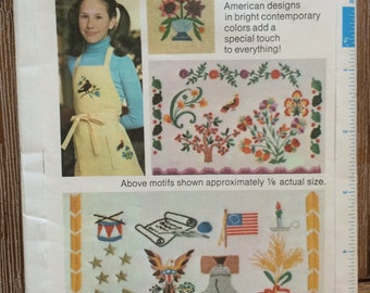 UNCUT Vintage 1970's Embroidery Pattern Simplicity 4308 Patriotic, Fourth of July, Americana, Tree, Bird, Flower, Flag, Bell, Drum