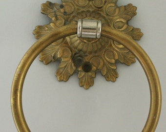 Vintage brass towel ring, Sunflower Center Rosette, Feather flourish detail chrome accent with patina
