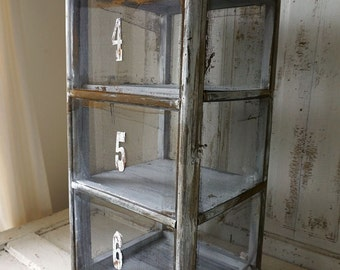 Wood and metal pie safe display w/ number tags rustic farmhouse distressed painted rusty screened in cabinet home decor anita spero design