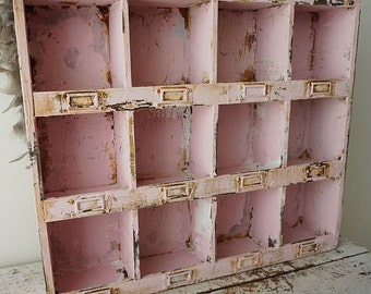 Shelf organizer cubbie wall hanging or table display distressed pink white rusty shabby cottage chic storage cubby decor anita spero design