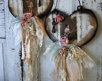 Rustic farmhouse French postcard paper heart wall hanging set shabby cottage chic millinery floral metal key lace decor anita spero design