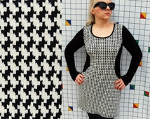SILHOUETTE Houndstooth Gingham Black and White Checkered Long Sleeve Knit Bodycon Small Womens Dress