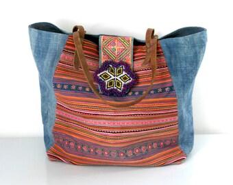 hmong bag, hmong shopper, upcycled bag, thai bag, hmong tote, hmong hemp tote, ooak