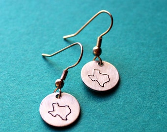 State Earrings, Choose Your Location, State Pride Jewelry,  Texan, Southern Made in TEXAS, Map Jewelry, Lone Star State Earrings
