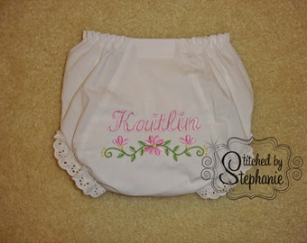 Custom personalized monogrammed pink floral border eyelet bloomers panties diaper cover