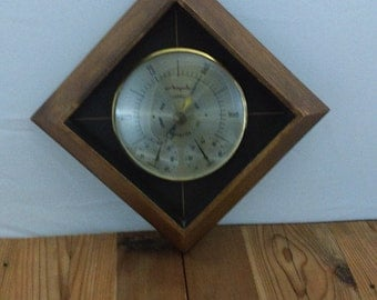 Mid Century Airguide Baramoter Weather Station Brass Wood Diamond