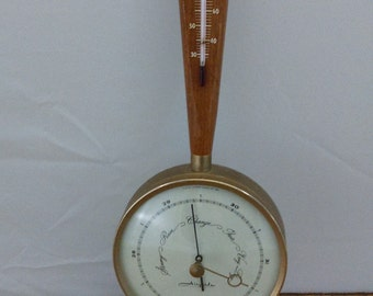 Mid Century Airguide Thermometer Weather Station Brass and Teak Banjo