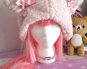 Soft Fuzzy Pink Bear Hat Kawaii Sweet Lolita Fairy Kei