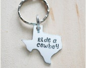Ride a Cowboy Keychain - Aluminum Texas Key Chain - Texan Key Ring - State Pride Bull Rider Accessory