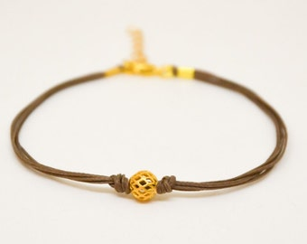 Mother's day gift, Gold ball bracelet, brown cord bracelet with gold bead, gift for mom, minimalist jewelry, friendship, women bracelets
