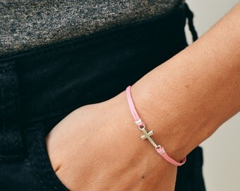 Cross bracelet, women bracelet with silver cross charm, pink, christian catholic jewelry, gift for her, bridesmaids gift, pink bracelet
