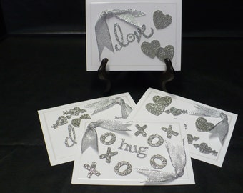 Valentine Love Notes ... Set of 4 Love Inspired Note Cards ... Embellished with Silver Glitter Hearts, Sentiments, and Metallic Ribbon.
