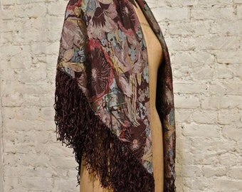70s Rayon Print Fringe Scarf - Made in India - Stevie Nicks Style